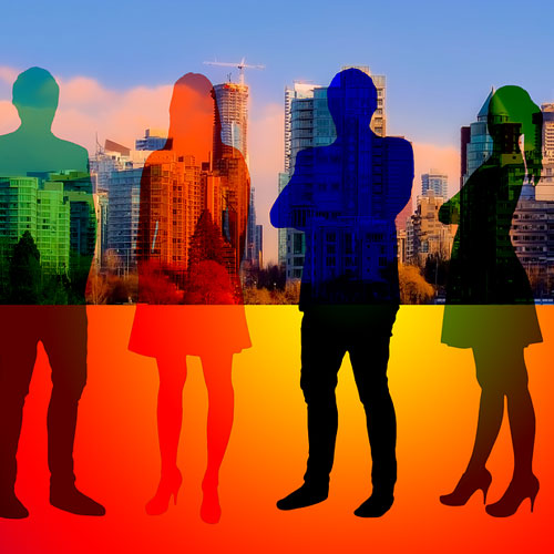 four silhouettes of people against a skyline